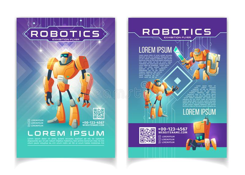 Robotics exhibition advertising flyer vector pages. Robotics and artificial intelligence technologies exhibition advertising flyer cartoon vector pages template royalty free illustration