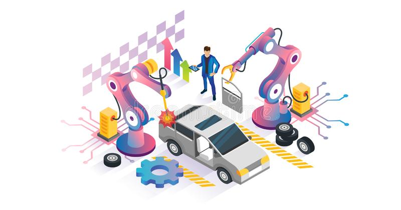 Robotics automation vector illustration. Isometric machines manufacturing. Technical construction line with mechanical hydraulic arm. Factory production remote stock illustration
