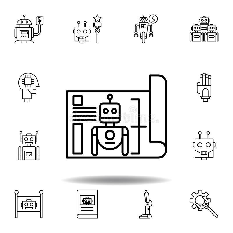 Robotics blueprint outline icon. set of robotics illustration icons. signs, symbols can be used for web, logo, mobile app, UI, UX vector illustration