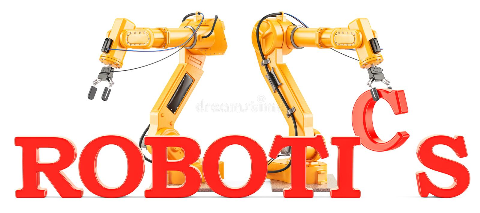 Robotics concept with robotic arms, 3D rendering vector illustration