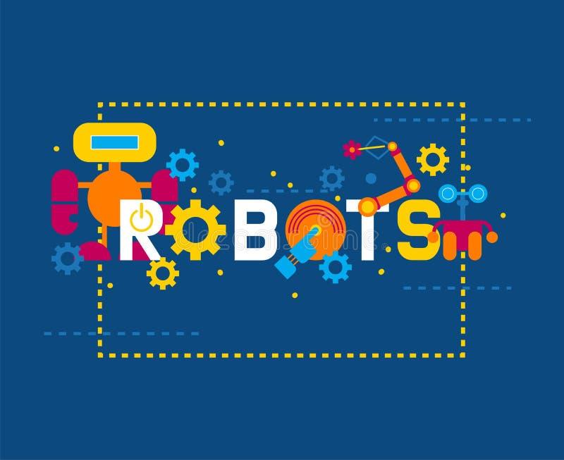 Robotics creation icons banner vector illustration. Celebration. Futuristic artificial intelligence technology. Gear vector illustration