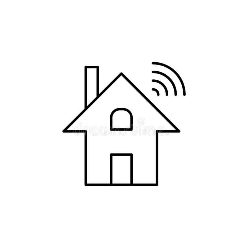 Robotics dominotics home wi-fi outline icon. Signs and symbols can be used for web, logo, mobile app, UI, UX royalty free illustration