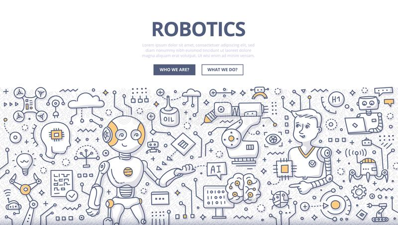 Robotics Doodle Concept. Doodle illustration of robotic technology and production, artificial intelligence, internet chat bot communication. Concept of stock illustration