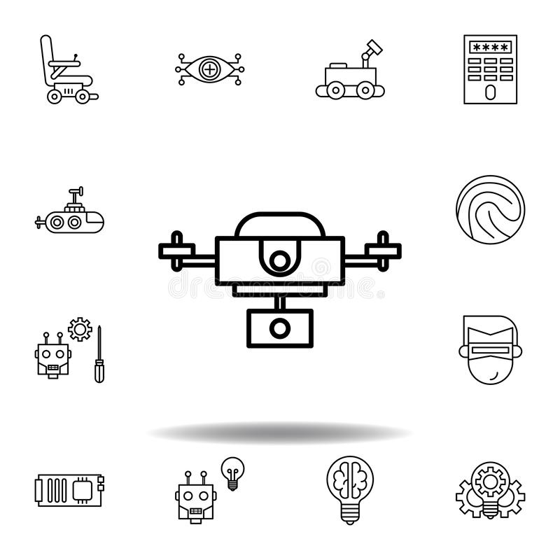 Robotics drone outline icon. set of robotics illustration icons. signs, symbols can be used for web, logo, mobile app, UI, UX. On white background stock illustration