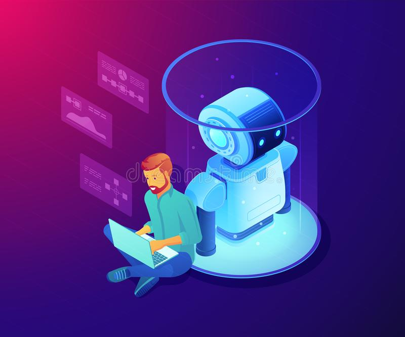 Robot software concept vector isometric illustration. stock illustration