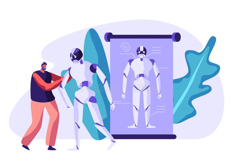 Robotics Engineering. Young Cheerful Man Holding Huge Cyborg by Hand. Robots in Human Life, Artificial Intelligence Technology. Robotics Engineering. Young vector illustration