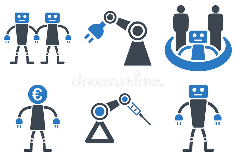 Robotics Flat Vector Icons royalty free illustration