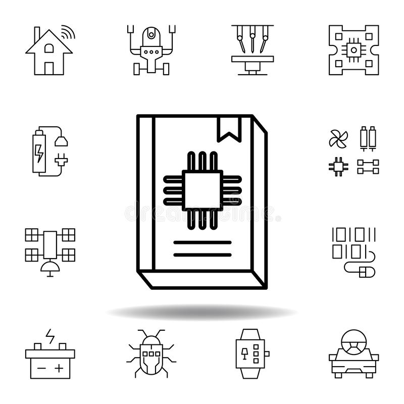 Robotics guide book outline icon. set of robotics illustration icons. signs, symbols can be used for web, logo, mobile app, UI, UX stock illustration