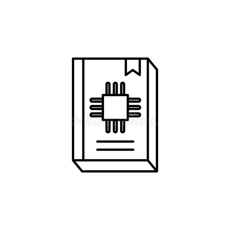 Robotics guide book outline icon. Signs and symbols can be used for web, logo, mobile app, UI, UX stock illustration