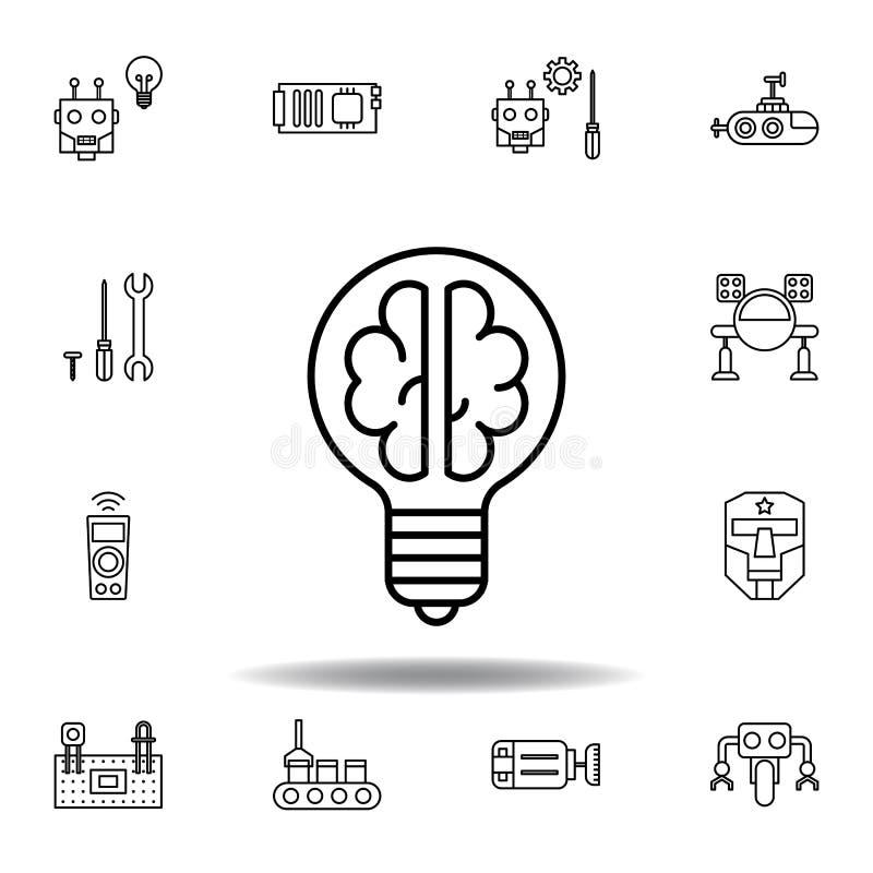 Robotics light bulb brain outline icon. set of robotics illustration icons. signs, symbols can be used for web, logo, mobile app,. UI, UX on white background stock illustration
