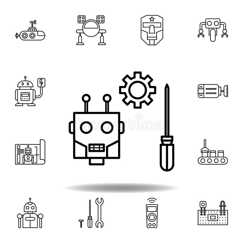 Robotics maintenance outline icon. set of robotics illustration icons. signs, symbols can be used for web, logo, mobile app, UI,. UX on white background vector illustration