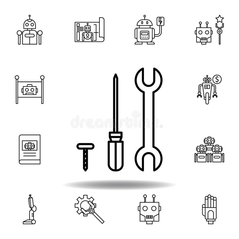 Robotics repair outline icon. set of robotics illustration icons. signs, symbols can be used for web, logo, mobile app, UI, UX royalty free illustration