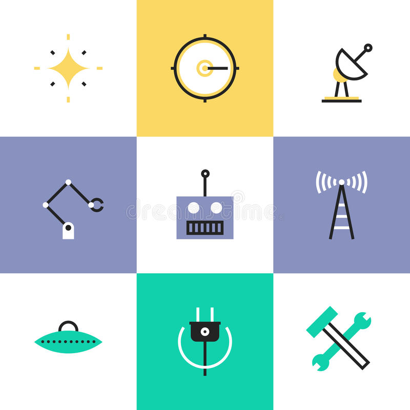 Robotics and science pictogram icons set. Science innovative engineering, robotics construction industry, broadcasting radio signal, green power and energy vector illustration