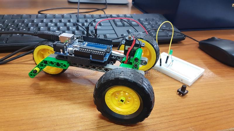 Robotics stem education in a class. Vehicle royalty free stock image