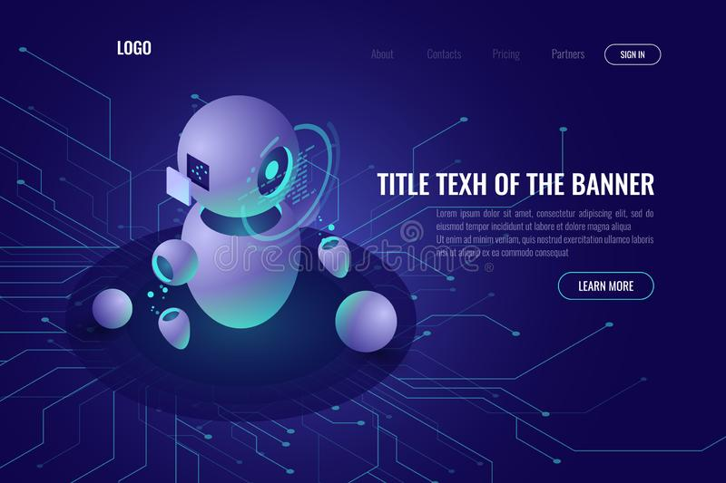 Robotics technology, machine education and artificial intelligence ai isometric icon, data processing, robotica concept. Smart tech, ultraviolet vector web royalty free illustration