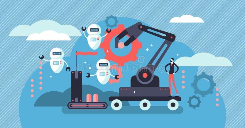 Robotics vector illustration. Flat tiny person concept with future job automatization. Robotics vector illustration. Flat tiny person concept with future robots stock illustration