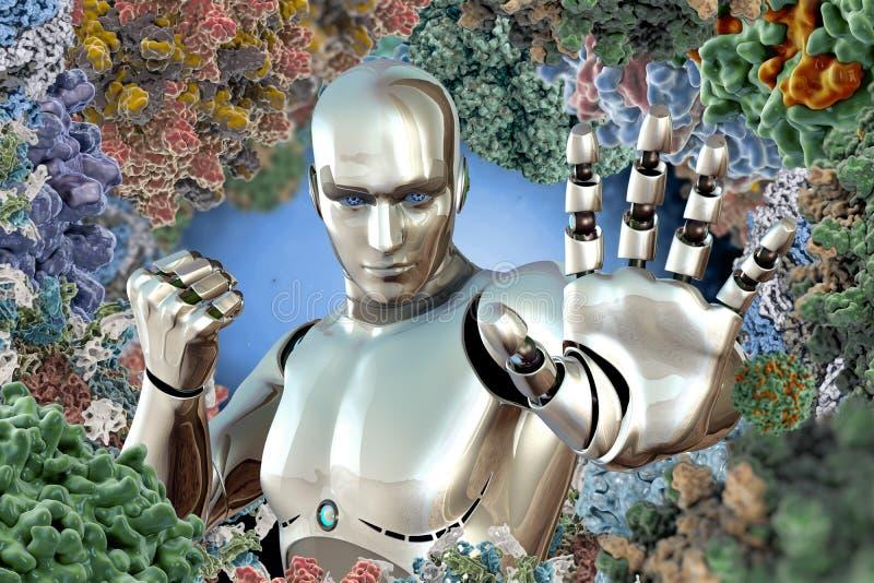 Robotics virus protection concept new technology. Virus protection new technology robotics royalty free illustration