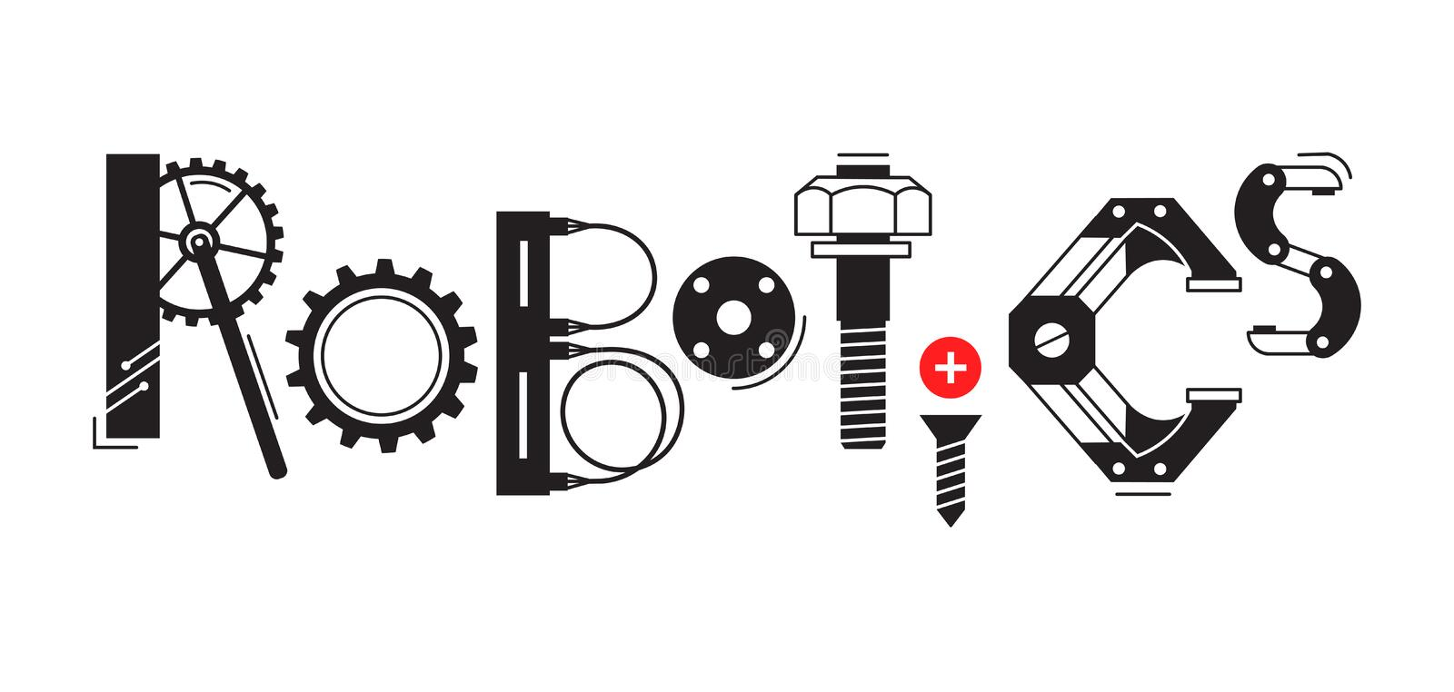 Robotics word. The inscription and letters are stylized in the form of details of robots and mechanisms. royalty free illustration