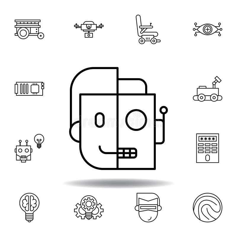 Robotik Cyborg-Entwurfsikone stellen Sie von den Robotikillustrationsikonen ein Zeichen, Symbole können für Netz, Logo, mobiler A vektor abbildung