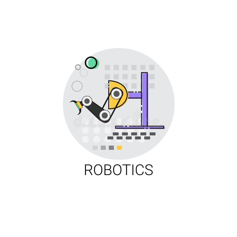Robotik-intelligente Maschinerie-industrielle Automatisierungs-Industrie-Produktions-Ikone stock abbildung