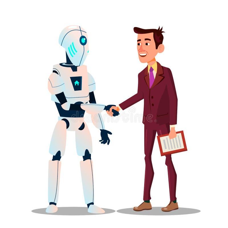 Robotik und Spitzentechnologie Der Roboter rüttelt Hände mit einem Geschäftsmann Unterzeichnen einer Vertrags-Vektor-flachen Kari vektor abbildung