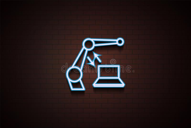 Robotikikone in der Neonart vektor abbildung