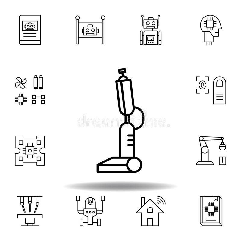 Robotikroboterbein-Entwurfsikone stellen Sie von den Robotikillustrationsikonen ein Zeichen, Symbole können für Netz, Logo, mobil lizenzfreie abbildung
