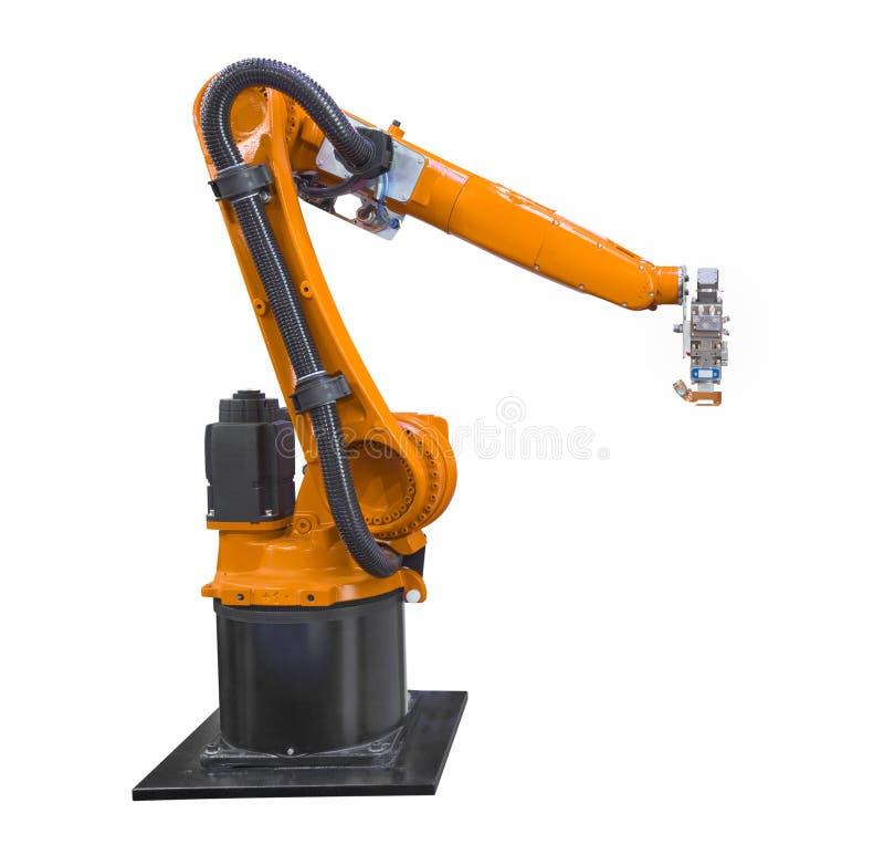 Robotique d'industrie d'isolement sur le fond blanc avec le chemin de coupure photographie stock