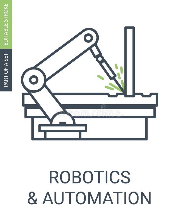 Robotique et icône automatique des détails de soudure de bras automatique illustration de vecteur