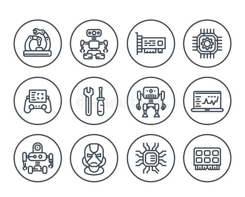 Robotique, industrie mécanique, robots, icônes illustration de vecteur