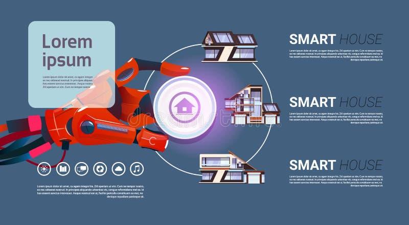 Robotique remettez la technologie futée d'interface de contrôle de Chambre du concept de domotique illustration stock