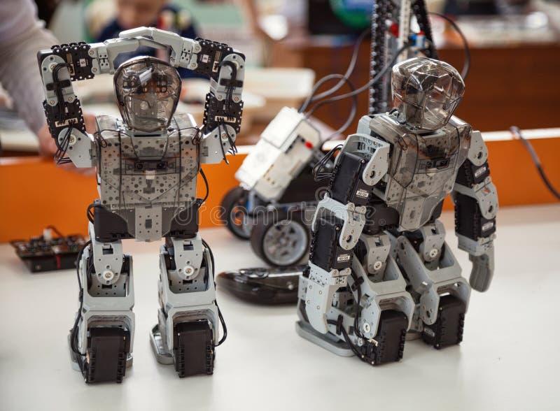 Robotis Bioloid,优质成套工具:2个小被编程的DIY有人的特点的机器人戏弄在桌特写镜头的身分 库存照片
