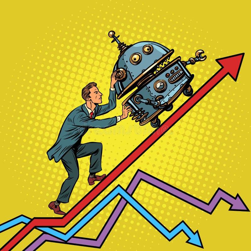 Robotisation et concept technique de révolution Pushe d'homme d'affaires illustration stock