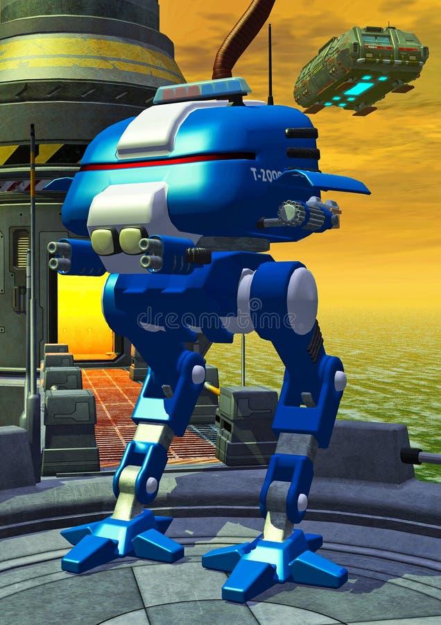 Robotische politie, wacht op een ruimtebasis, 3d illustratie vector illustratie
