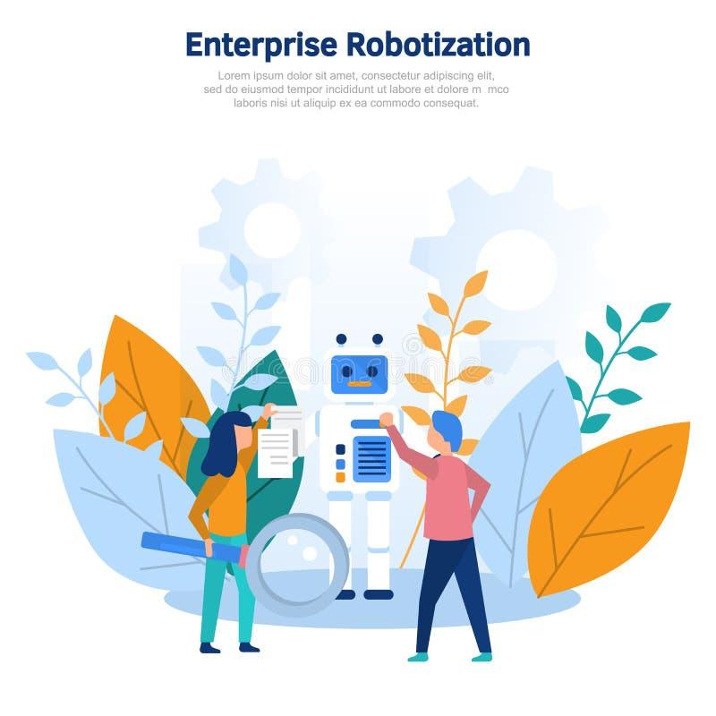 Robotization da produção da ilustração do conceito, revolução técnica, progresso científico, programando, ajustes em linha, trein ilustração stock