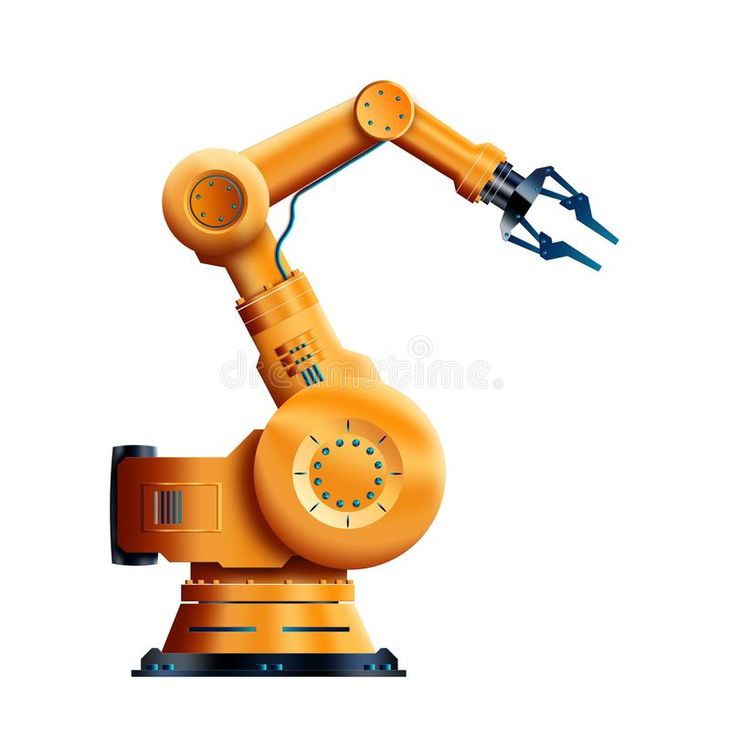 Robotization, working robot isolated on white background. The concept of a shortage of jobs, robots against people, reducing. People. 3D Illustration, 3D vector illustration