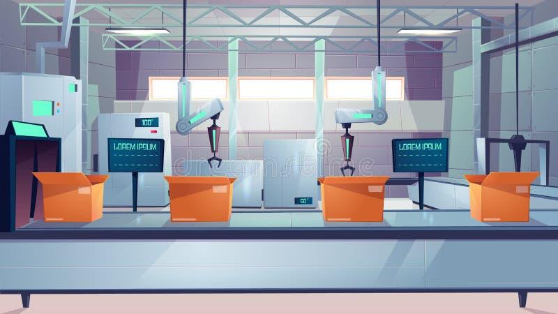 Robotized包装线动画片传染媒介概念 皇族释放例证