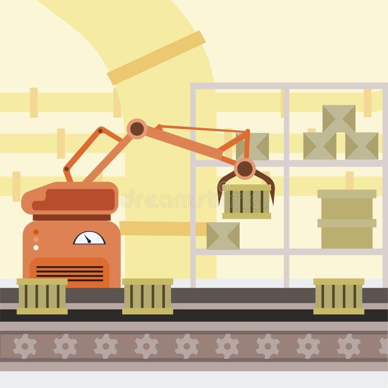 Robotized生产线动画片例证 制造的自动化的过程,在传送带,机器人手的箱子 皇族释放例证