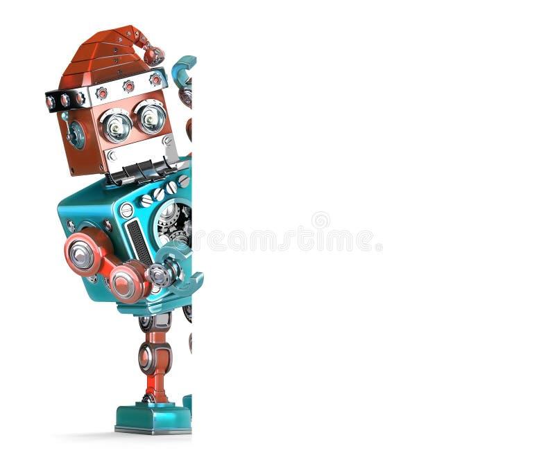 Robotjultomten som visar det tomma banret Julfilial och klockor Innehåller den snabba banan stock illustrationer