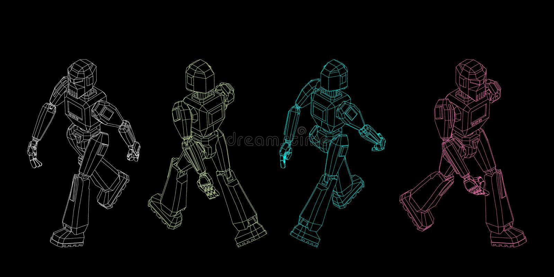 Robotkarakter het lopen Vectoroverzichtsillustratie stock illustratie