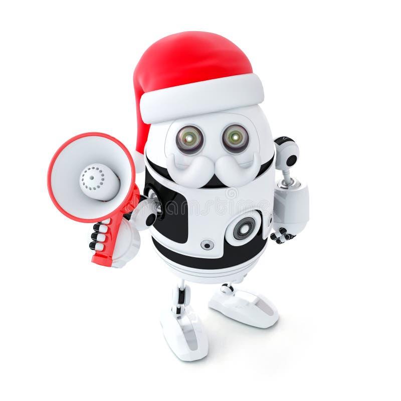 Robotkerstman met megafoon. Kerstmisconcept stock illustratie