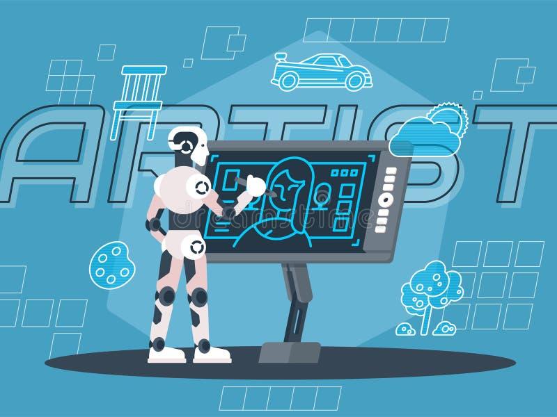 Robotkonstnär Illustration stock illustrationer