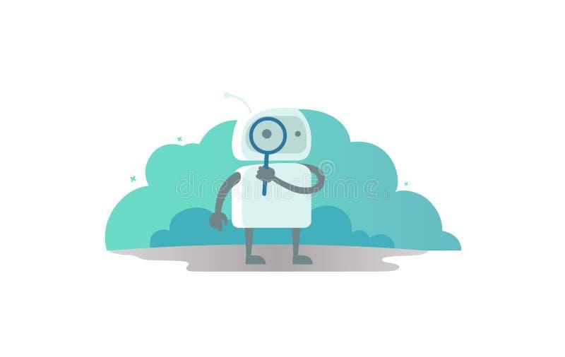 Robotkosmonaut met meer magnifier in hand zoekend iets Gevonden niet foutenpagina 404 vector illustratie