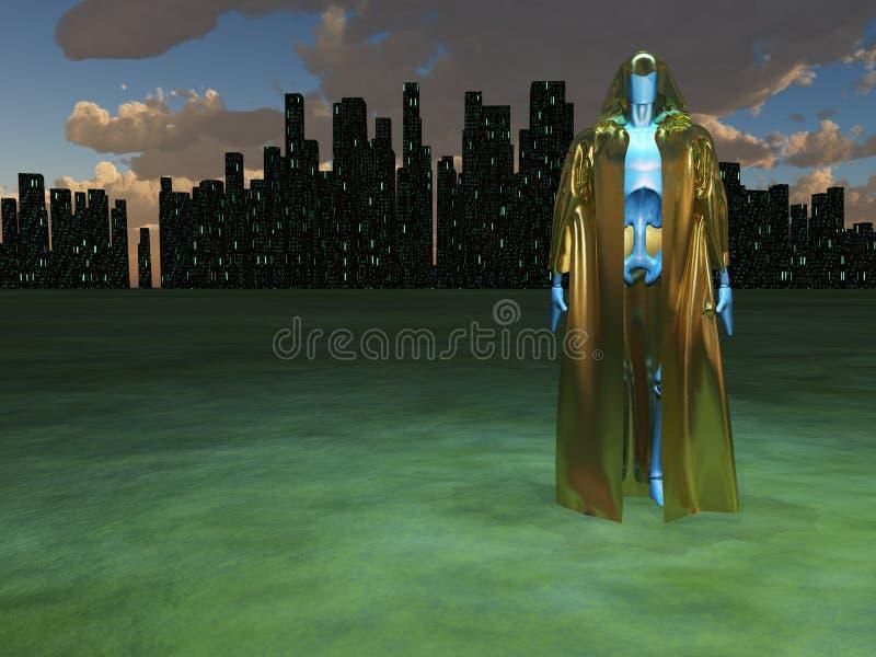 Robotkrigare royaltyfri illustrationer