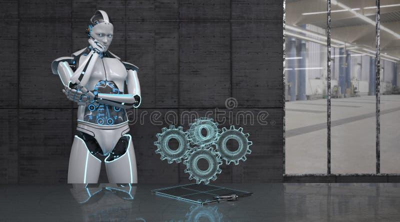 Robotkugghjulhjul royaltyfri illustrationer