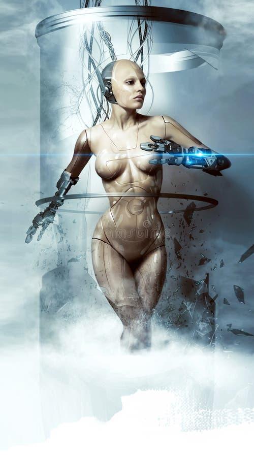 Robotkvinna cyborg framtida teknologier royaltyfri fotografi