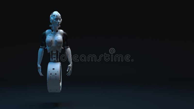 Robotkvinna, digital v?rld f?r science fictionkvinna av framtiden stock illustrationer