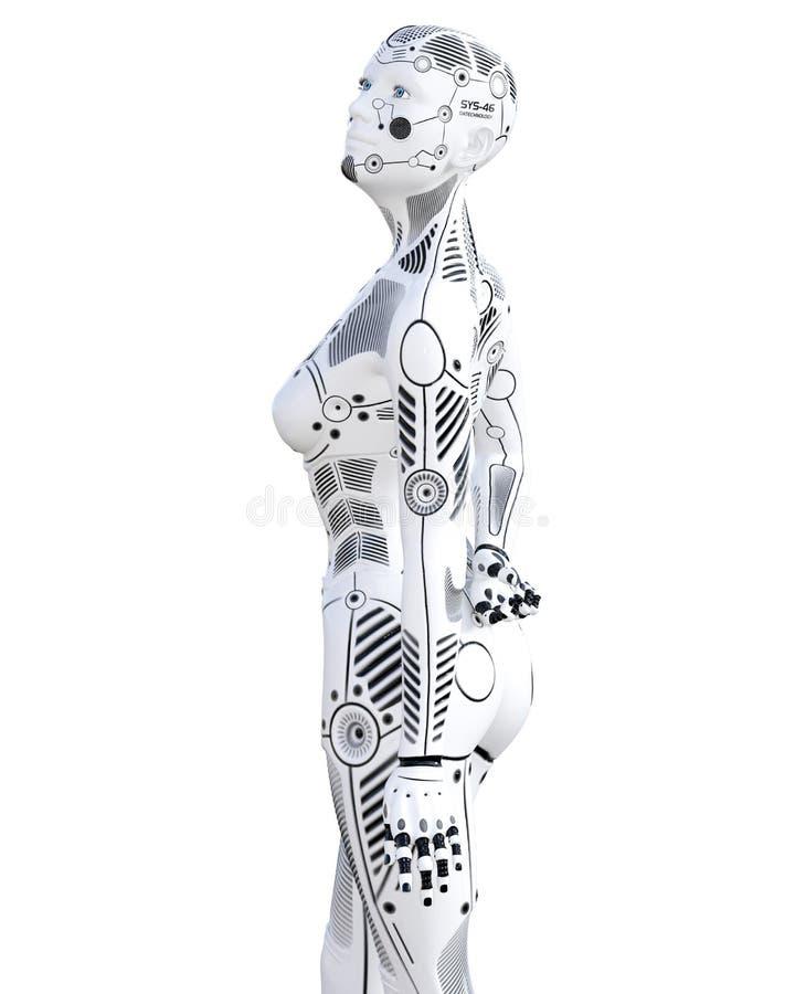 Robotkvinna Droid f?r vit metall vektor illustrationer