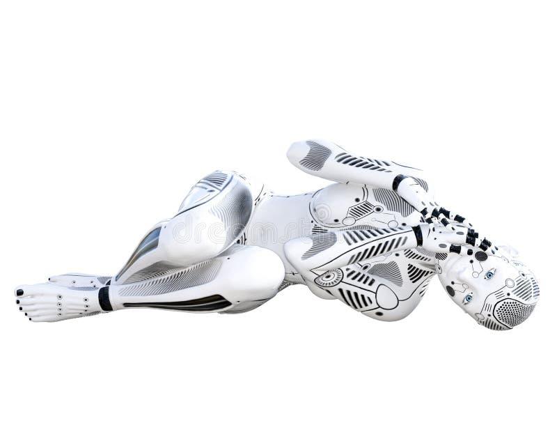 Robotkvinna Droid f?r vit metall royaltyfri illustrationer