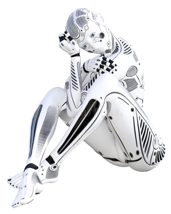 Robotkvinna Droid f?r vit metall stock illustrationer